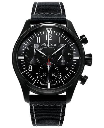 Мужские швейцарские часы с автоматическим хронографом Startimer Pilot с черным нейлоновым ремешком, 42 мм Alpina