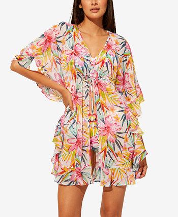 Пляжное платье-кафтан из шифона с оборками и оборками Beachy Keen Bleu Rod Beattie