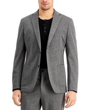 Мужской приталенный пиджак из стрейч серого цвета Calvin Klein
