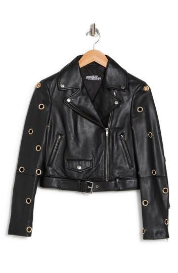 Grommet Sleeve Leather Jacket Jeremy Scott