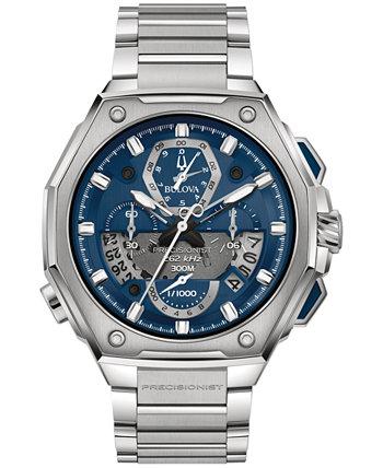 Мужские часы с хронографом Precisionist X из нержавеющей стали с браслетом 44,5 мм Bulova