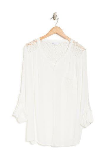 Lace Button Front Blouse (Plus Size) DR2 by Daniel Rainn
