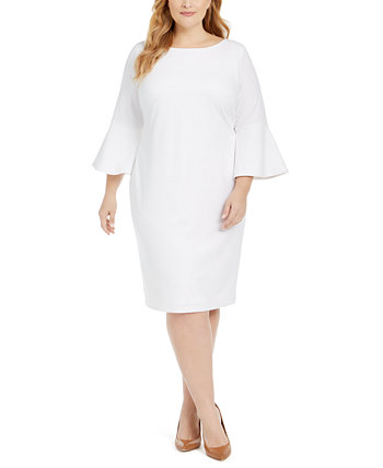 Платье-футляр большого размера с белыми рукавами Calvin Klein