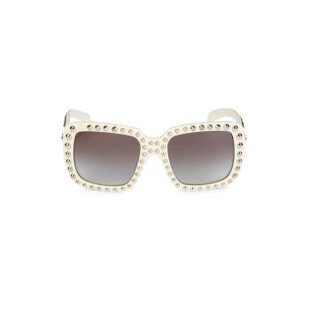 Солнцезащитные очки в квадратной оправе 56 мм с заклепками Prada