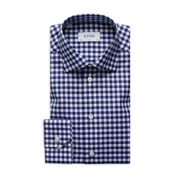 Slim-Fit Gingham Check Dress Shirt Eton
