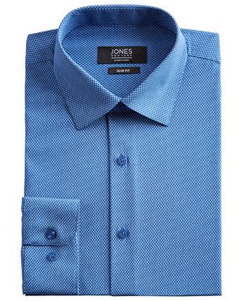 Мужская приталенная классическая рубашка Performance Stretch Cooling Tech синего / белого цвета с прямоугольным принтом Jones New York