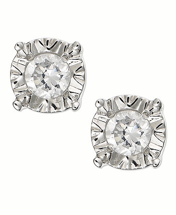 Серьги с бриллиантами-гвоздиками из 10-каратного золота, белого золота или розового золота (1/4 карат. Вес.) Macy's