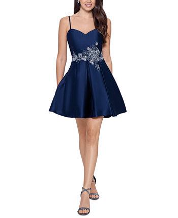 Juniors' Embellished Fit & Flare Dress Blondie Nites