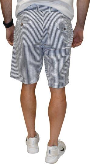 Полосатые шорты из жатого хлопка на плоской подошве Vintage 1946