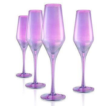 Набор из 4 шт. По 10 унций. Блестящие пурпурные флейты Artland