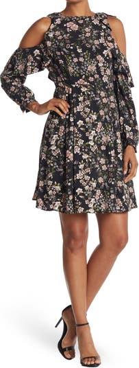 Многослойное платье с цветочным принтом и открытыми плечами ONE ONE SIX