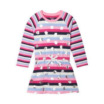 Маленькая девочка & amp; Платье для девочек с заниженной талией и цветочными сердечками Hatley