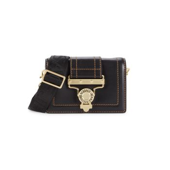 Кожаная сумка через плечо с трансформируемой пряжкой Versace Jeans Couture