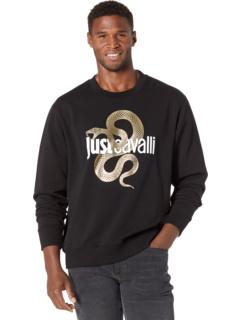 Gold Snake Logo Crew Neck Sweatshirt Just Cavalli