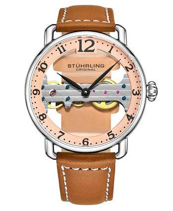 Мужские светло-коричневые часы с кожаным ремешком 42мм Stuhrling