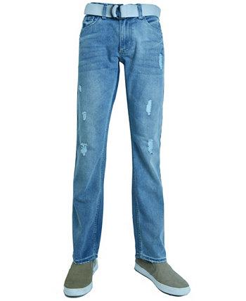 Мужские модные рваные прямые джинсы стандартного кроя с поясом Flypaper