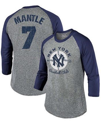Men's Mickey Mantle New York Yankees Cooperstown Collection Name Number Tri-Blend 3/4 Sleeve T-shirt - Gray, Navy Majestic