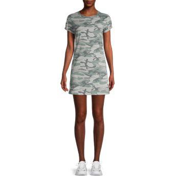 Camo-Print T-Shirt Dress Knit Riot