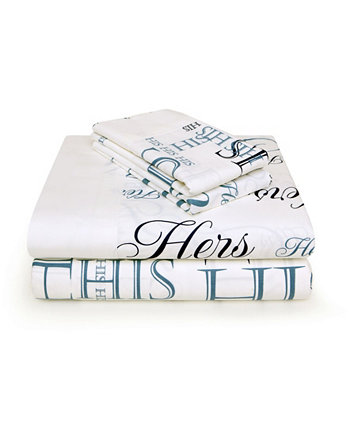 Набор из 4 простыней His и Hers, 300 нитей, королева Bed Hog
