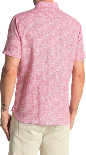 Рубашка из смесового льна с короткими рукавами и абстрактным принтом Toscano