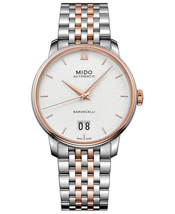 Мужские швейцарские автоматические двухцветные часы-браслет из нержавеющей стали Baroncelli III, 40 мм MIDO