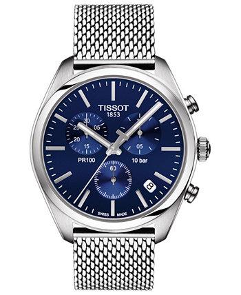 Мужские швейцарские часы с хронографом PR 100 из нержавеющей стали 41мм Tissot