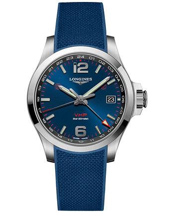 Мужчины Swiss Conquest V.H.P. Часы с синим каучуковым ремешком 41 мм Longines