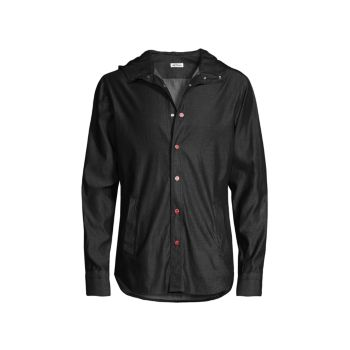 Джинсовая куртка-рубашка с капюшоном Kiton