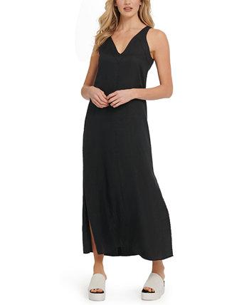 Льняное платье макси DKNY