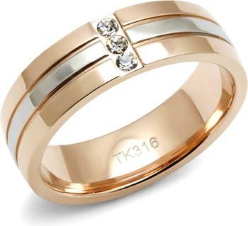 Двухцветное кольцо с цирконом Faux Stack Covet