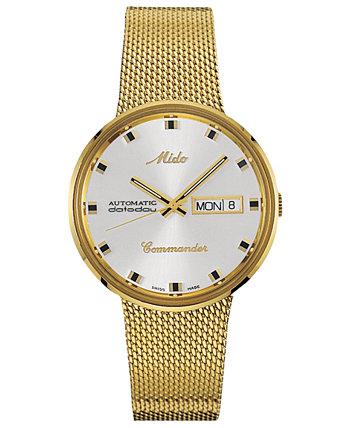 Мужские швейцарские автоматические коммандер золотые тона PVD из нержавеющей стали сетка браслет часы 37мм MIDO