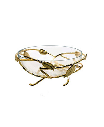 Чаша для салата из кованых стаканов с золотистыми латунными листьями Classic Touch
