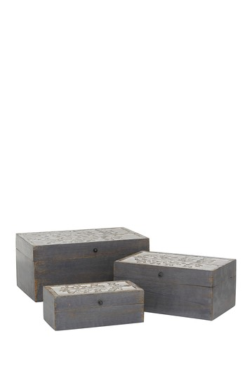 Grey Mango Wood Country Cottage Box - Set of 3 Willow Row