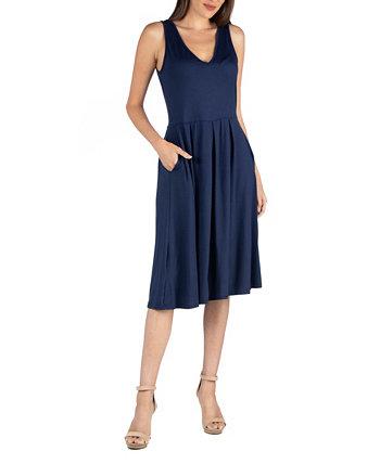 Платье без рукавов миди с карманом 24seven Comfort Apparel