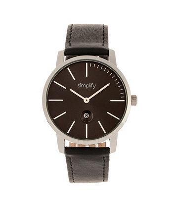 Кварц The 4700 черный циферблат, часы из натуральной черной кожи 40 мм Simplify