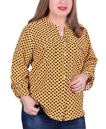 Блузка с воротником-стойкой на рукавах 3/4 больших размеров NY Collection