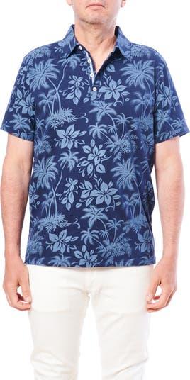 Рубашка-поло с короткими рукавами и тропическим принтом Toscano
