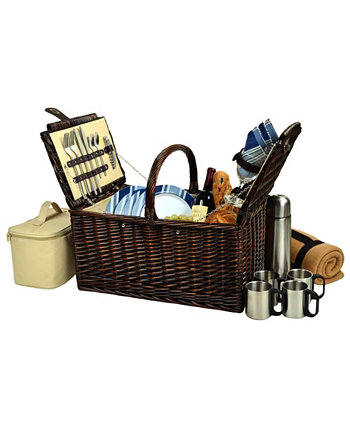 Buckingham Willow Picnic, Coffee Basket for 4 with Blanket Picnic At Ascot