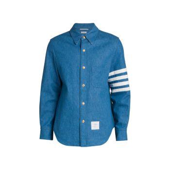 Джинсовая рубашка с длинным рукавом с кнопками спереди THOM BROWNE
