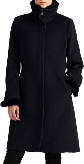 Faux Fur Trim Wool Blend Coat LAUREN Ralph Lauren