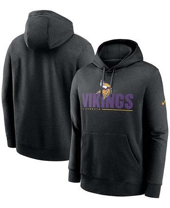 Черный мужской пуловер с капюшоном для больших и высоких Minnesota Vikings Team Impact Club Nike