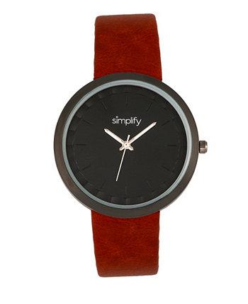 Часы Quartz The 6000 Dark Brown из кожзаменителя 43 мм Simplify