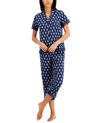 Топ с зубчатым воротником и пижамный комплект Capris, созданный для Macy's Charter Club