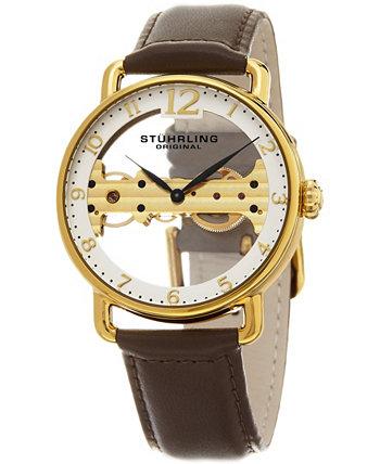 Мужские часы с механическим мостом, золотой корпус на коричневом ремешке из натуральной кожи, белый скелетонизированный циферблат с открытым мостом, золотой оттенок и черные вставки Stuhrling
