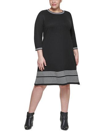 Платье-свитер большого размера с контрастной отделкой Jessica Howard