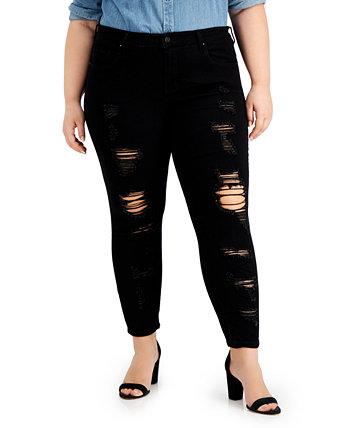 Модные рваные джинсы скинни больших размеров с эффектом потертости Dollhouse