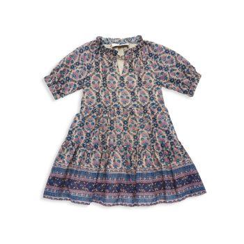 Маленькая девочка & amp; Платье Girl's Verbena с оборками на рукавах Sea