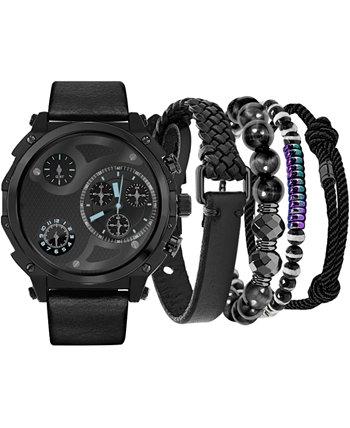 Мужские часы с черным ремешком, 40 мм, подарочный набор American Exchange