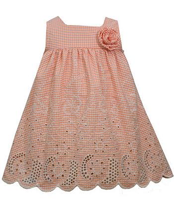 Платье для девочки с вышивкой в мелкую клетку Bonnie Baby
