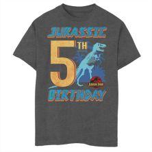 Футболка с рисунком T Rex для мальчиков 8-20 Jurassic Park 5th Birthday Jurassic Park